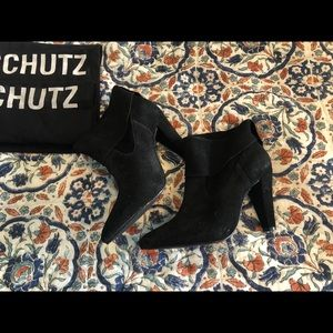SCHUTZ black suede pointy toe booties